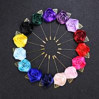 blütenreversstifte der männer großhandel-33 farben Luxus Stoff Rose Blume Revers Pin Mens Uniform mantel kleidung abzeichen Broaches Für frauen hochzeit Modeschmuck Zubehör