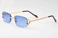 ingrosso occhiali da sole blu per gli uomini-Designer blu Montatura ovale senza montatura Moda Trend Occhiali da sole Buffalo Donna Uomo Designer di marca Occhiali da sole di alta qualità con scatole Oculos De Sol