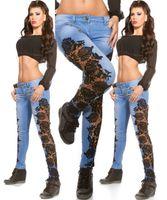 ingrosso jeans scavavano il merletto nero-Jeans da donna all'uncinetto in jeans Jeans aderenti blu denim Pantaloni a matita lunghi Nero Design bianco Patchwork scavato