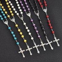 collar de borla de imitación al por mayor-Largo rosario cruz colgante collares cadena de perlas de imitación de acero inoxidable borla larga cristiana para mujer joyería de moda K4126
