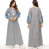 ingrosso abiti arabi donne-Vestidos 2019 Primavera Strisce Abaya Dubai Turchia Arabo Hijab Musulmano Abito Abaya Donna Qatar Emirati Arabi Abbigliamento Turco Islamico