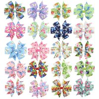 Wholesale easter hair clips for sale - Group buy Easter egg baby Girls hairpins dovetail rabbit Barrettes Bow with clip children hair accessories kids Flower print Hair clips C6089