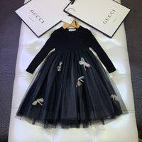 hilo tutu al por mayor-Vestido de las muchachas niños ropa de moda otoño dulce estilo nuevos vestidos de costura de malla multicapa suave gancho de hilado del vestido patrón de flores
