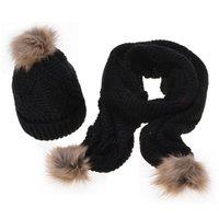 chapéu do computador venda por atacado-Outono e inverno chegam novas de lã moda feminina Keep Warm Computer Knitting Sólidos Knit Scarf Hat Set Com Pompom Decoração