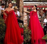 Wholesale long cape short dress resale online - New Sexy Red Prom Dresses Off Shoulder Lace Appliques Empire With Cape Tulle Long Evening Dress Wear Cheap Red Carpet Formal Party Gowns