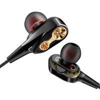 lautsprechergeräusche großhandel-In-Ear-Kopfhörer mit Kabel, 4 Lautsprecher, Stereo-Kopfhörer mit Mikrofon, 3,5 mm Sport-Headset, schweißbeständige Ohrhörer mit Rauschunterdrückung