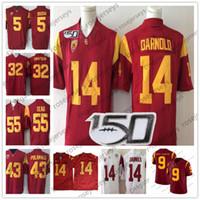 xxl camiseta de fútbol 43 al por mayor-Vintage USC Trojans # 14 Sam Darnold 43 Troy Polamalu 32 OJ Simpson 55 Junior Seau 5 Reggie Bush 2019 NCAA 150TH Jersey rojo