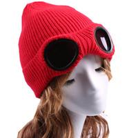 ingrosso occhiali a colori del cranio-Occhiali da aviatore inverno caldo maglia berretto di lana signora moda sci cappello di lana uomo donna caldo vetro berretti di colore solido cappelli di moda