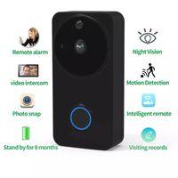 batterie-monitor-kameras großhandel-SUNTEX HD Video-Türklingel Wireless WiFi-Türklingel-Monitor Alarm-Tür-Telefon IP-Kamera-Akku im Freien wasserdichten Android Auto dvr