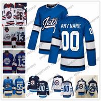 jersey jatos juventude venda por atacado-Personalizado Winnipeg Jets 2019 Azul Terceiro Camisas Qualquer Número Nome homens mulheres jovens crianças Marinha Branco Wheeler Laine Selanne Scheifele Connor Pouco