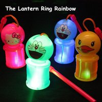 karikatur nachtmarkt großhandel-Tragbare Cartoon leuchtende Regenbogen Kreis Laterne 12cm verschiedene mischende Lichter tragbare Laterne Nachtmarkt glühend heiß Spielzeug