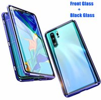 Wholesale aluminum note phone case online – custom Double Glass Magnetic Adsorption Metal Phone Case for Samsung S10 S10 plus S9 NOTE9 Full Coverage Aluminum Alloy Frame with Tempered Glass