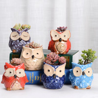 coruja cerâmica venda por atacado-Owl Pot cerâmico vazio Suculenta Vaso de Flor Flor Cactus Pots dos desenhos animados Suculenta colorido Desktop Garden HHA563