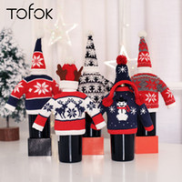 Wholesale knitted wine bottle covers for sale - Group buy Tofok Christmas Knitted Red Wine Bottle Cover Clothes With Hats For Hotel Restaurant Supermarket Christmas Home Decorations New