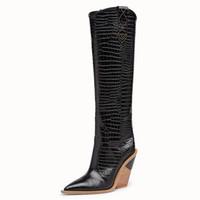 bayan ayakkabıları yeni marka toptan satış-Yepyeni kadın botları sivri burun kovboy batı botlar En kaliteli siyah bayanlar yüksek topuklu kış Diz yüksek dişi ayakkabılar