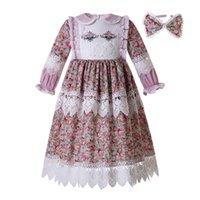 müslüman çiçek toptan satış-Pettigirl Müslüman Doll Yaka Uzun Kollu Çocuk Giyim Çiçek Baskılı Dantel Nakış Çocuklar Tasarımcı Kızlar Elbiseler G-DMGD112-B467