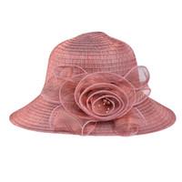 disket şapka çiçekleri toptan satış-Gül Baskı Güneş Koruyucu Şapka Moda Disket Katlanabilir Bayanlar Kadınlar Katı Saman Çiçek Plaj Güneş Yaz Şapka Geniş Ağız garcon