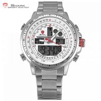 часы двойные цифровые часы оптовых-Winghead Shark Спортивные Часы Марка Жк-Цифровой Белый Двойной Время Дата День Будильник Секундомер Серебряный Стальной Ремешок Мужчины Кварцевые Часы / sh329n Y19021418