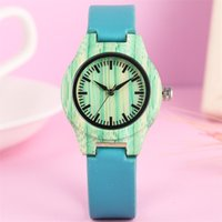 Wholesale watches strip resale online - Novel Green Strips Round Lady Wooden Watch Quartz Movement Blue PU Leather Wristwatch Trendy Female Watches Gifts New