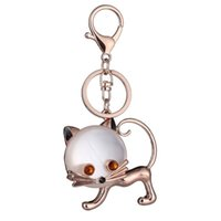 Wholesale sexy girl pendants for sale - Group buy popular jewelry new key chain girl jewelry gift cute sexy cat keychain holiday small gift bag pendant keyring