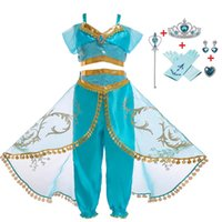 Wholesale lamp halloween costume resale online - Girls Aladdin s Lamp Jasmine Belly Dance Cosplay Costumes For Children Princess Christmas Dresses Children s Halloween Costumes