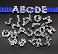 lettres ceintures achat en gros de-130pcs 8mm Complet strass A-Z Alphabet Slide Lettres DIY Accessoire Fit 8mm Bracelet / Pet Nom collier Ceintures / Bracelets