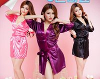 Wholesale see through robes online - Lingerie Europe America bathrobe sexy plus size lace nightwear woman see through gown kimono in six colors optional t pants