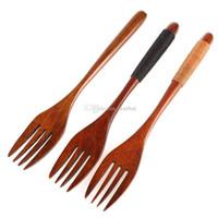 ingrosso bar da pranzo in bambù-Forchette da tavola in legno naturale Forchetta da viaggio portatile Bamboo Dinerware Cucchiaio forchetta da cucina Utensile da tavolo da bar WX9-1356