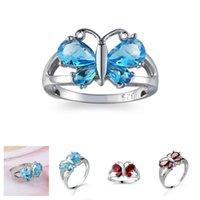 Wholesale beautiful butterfly rings for sale - Group buy 925 Sterling Silver Crystal Austria Gem Stone Butterfly Ring Shiny Beautiful Wedding Engagement Christmas Gift