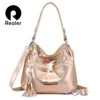 животное принт кожа подлинный оптовых-REALER женская сумка через плечо из натуральной кожи женская сумка через плечо женские сумки модные принты с животными кисточка цепи с блестками # 93948