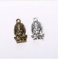 tibetischen charme armband schmuck großhandel-100 teile / los Vintage Tibetischen Silber Buddha Ganesha Charms Anhänger 14x26,8mm Charme für Schmuck Machen DIY Armband Halskette