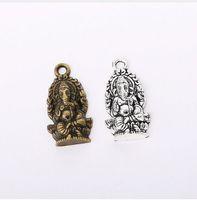 ingrosso argento ganesha-100pcs / Lot Vintage Tibetano Argento Buddha Ganesha Pendenti di Fascini 14x26.8mm Charms per Monili Che Fanno Collana di Braccialetto DIY
