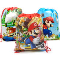 Wholesale baby drawstring bag resale online - Baby Shower Mochila Non woven Fabric Boys Favors Super Mario Backpack Decorate Birthday Party Drawstring Gifts Bag