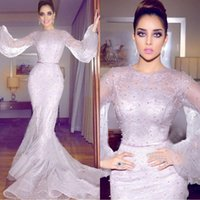 Wholesale beautiful blue evening dress beaded for sale - Group buy 2020 Beautiful Arabic Mermaid Formal Dresses Evening Wear Long Sleeve Full Lace Pearls Plus Size Prom Gowns