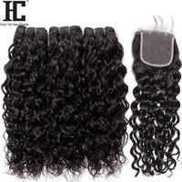 Wholesale water weave hair closure resale online - Brazilian Virgin Hair Water Wave Bundles With Closure Brazilian Hair Weave Wet And Wavy Human Hair Bundles With Lace Closure