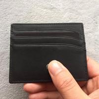 bolsa de monedas de lujo al por mayor-Marca de cuero negro clásico MB caso de tarjeta de identificación Caso de tarjeta de identificación de lujo para hombre Moda de negocios Monedero fino Bolsillo Bolsa Monederos delgados
