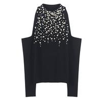 трикотажные изделия оптовых-SRUILEE дизайн Жемчужина бисером свитер высокого класса Весна перемычка женщины свитер с плеча пуловеры вязать топы осень Джерси взлетно-посадочной полосы