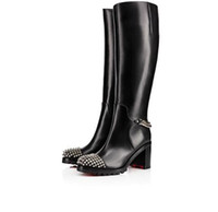 Wholesale spiked platform boots resale online - Elegant Winter Fashion Platform Heels Knee Boots Red Bottom Women s Boot Black Genuine Leather With Spikes Bottes Femme With Box