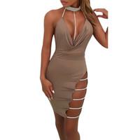 gargantilha de lantejoulas pretas venda por atacado-Preto Sexy Vestido de Festa Mulheres Moda Verão Profundo Decote Em V Halter Sem Encosto Gargantilha Fenda Lantejoula Bodycon Vestidos Roupas Femininas