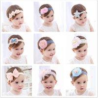 tela elástica de encaje al por mayor-banda para el cabello para niños Soft Lace Flower Cute Girl Hair Tela elástica sin daños Bow accesorios para niños HB200