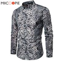 xxl kimyası toptan satış-Seksi Yılan Cilt Baskılı Erkek Gömlek 2019 Yeni Uzun Kollu Camisas Hombre Rahat Parti Sosyal Elbise Gömlek Chemise Homme S-XXL