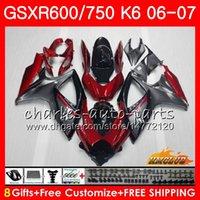 Wholesale Body For SUZUKI GSX R600 GSX R750 GSXR Dark red stock GSXR600 HC GSX R750 GSXR K6 GSXR750 Fairing kit