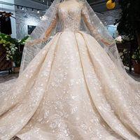 Wholesale champagne wedding dresses lebanon resale online - 2019 Latest Lebanon Long Lace Veil Wedding Dresses Long Tulle Sleeve Covered Button Illusion Back Sequin Applique Pattern Beach Bridal Gowns