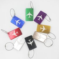 Wholesale keychain id tags resale online - 100pcs Aircraft Luggage ID Tags Boarding Travel Address ID Card Case Bag Labels Card Dog Tag Collection Keychain Key Rings fang