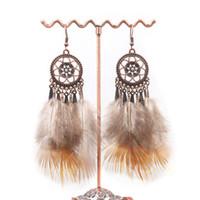 ingrosso piume colorate indiane-Vendita calda gioielli indiani Boho Orecchini pendenti Orecchini pendenti etnici piuma lunga colorata per le donne