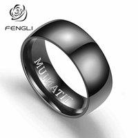 zarif parmak halkası toptan satış-FENGLI Narin 8mm Geniş Titanyum Çelik Yüzük Erkekler Için Basit Siyah TITANIUM Mektup Parmak Yüzük Punk Bar Takı