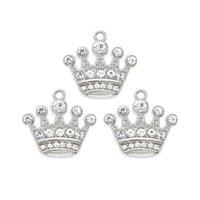 ingrosso catene chiave di fascino fluttuante-Crystal Crown Hanging Charm Ciondolo rotante Catenaccio Bracciale galleggiante Locket catena chiave Ciondola il fascino del sacchetto per gioielli Fai accessori