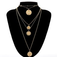 Wholesale clasp for stainless steel necklace resale online - Trendy Elizabeth Queen Pendant Gold Color Necklace Round Coin Statement For Women Stainless steel Female Charm Choker Jewelry Party Cheap