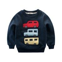 araba uzun kollu toptan satış-Güz Kış Çocuk Erkek Giysileri Tişörtü 2-8 Yıl Arabalar Çocuk Bluza Dziecko Uzun Kollu Bebek Çocuklar için Kapüşonlular Boy