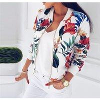 fermuarlar yaz ceketleri toptan satış-Baskı Bombacı Ceket Kadınlar Çiçekler Fermuar Up Retro Coat İlkbahar 2019 Yaz Uzun Kollu Temel Artı boyutu Kısa Biker ceketler